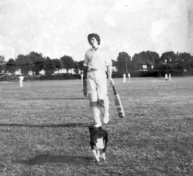 Alan Tickner and friend leave the field at Rose Hill, some time around 1970